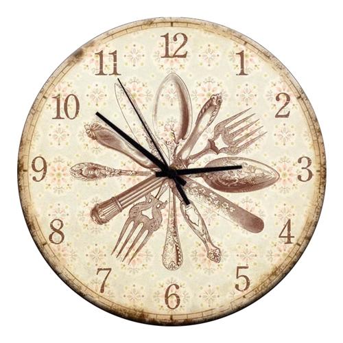 Relógio de Parede Talheres em Madeira MDF - 28 cm