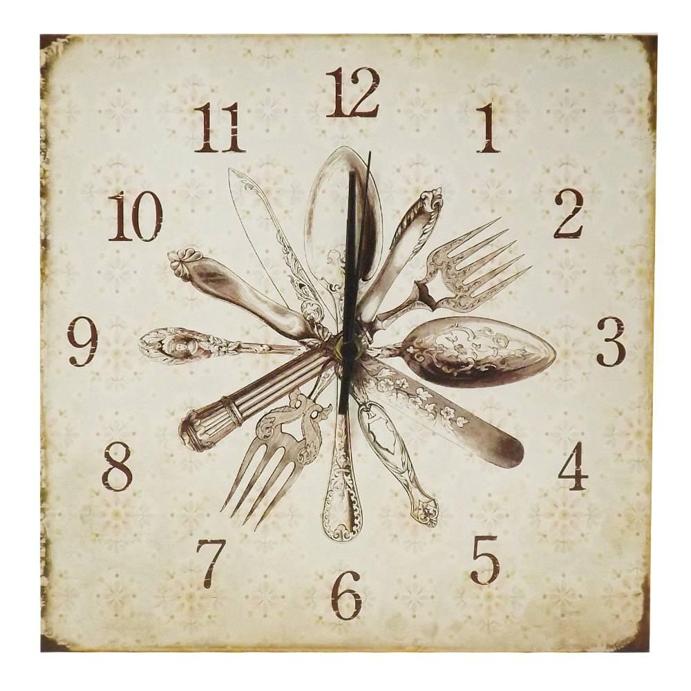 Relógio de Parede Talheres em Madeira MDF - 30 cm