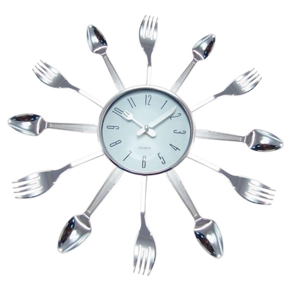 Relógio de Parede Talheres Prateado - 15x3 cm