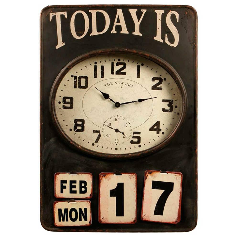 Relógio de Parede Today Is 17 Marrom Envelhecido em Metal - 73x50 cm