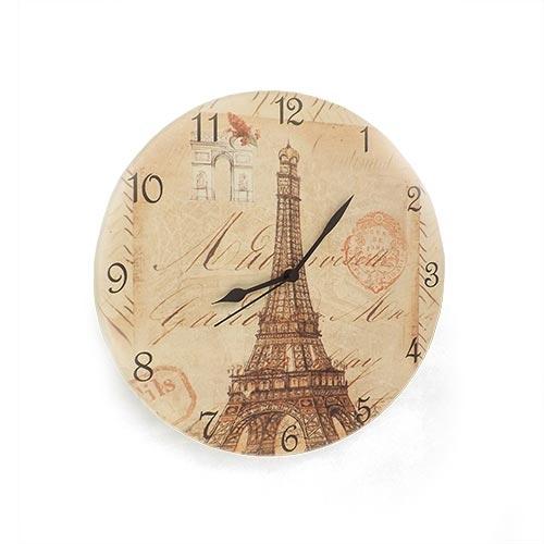 Relógio de Parede Torre Eiffel e Arco do Triunfo em Madeira MDF - 28 cm