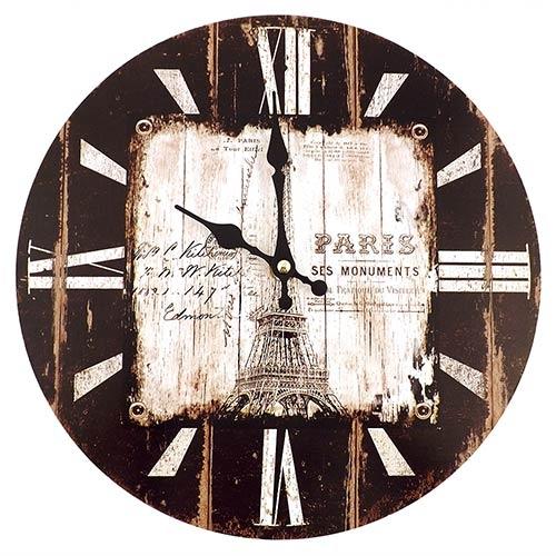 Relógio de Parede Torre Eiffel Oldway - Em MDF - 29 cm
