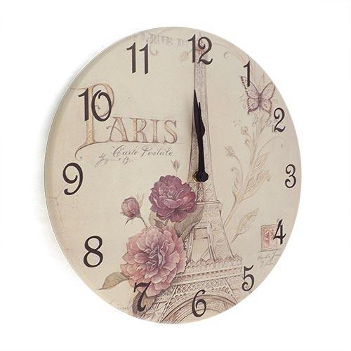Relógio de Parede Torre Eiffel Paris em Madeira MDF - 28 cm