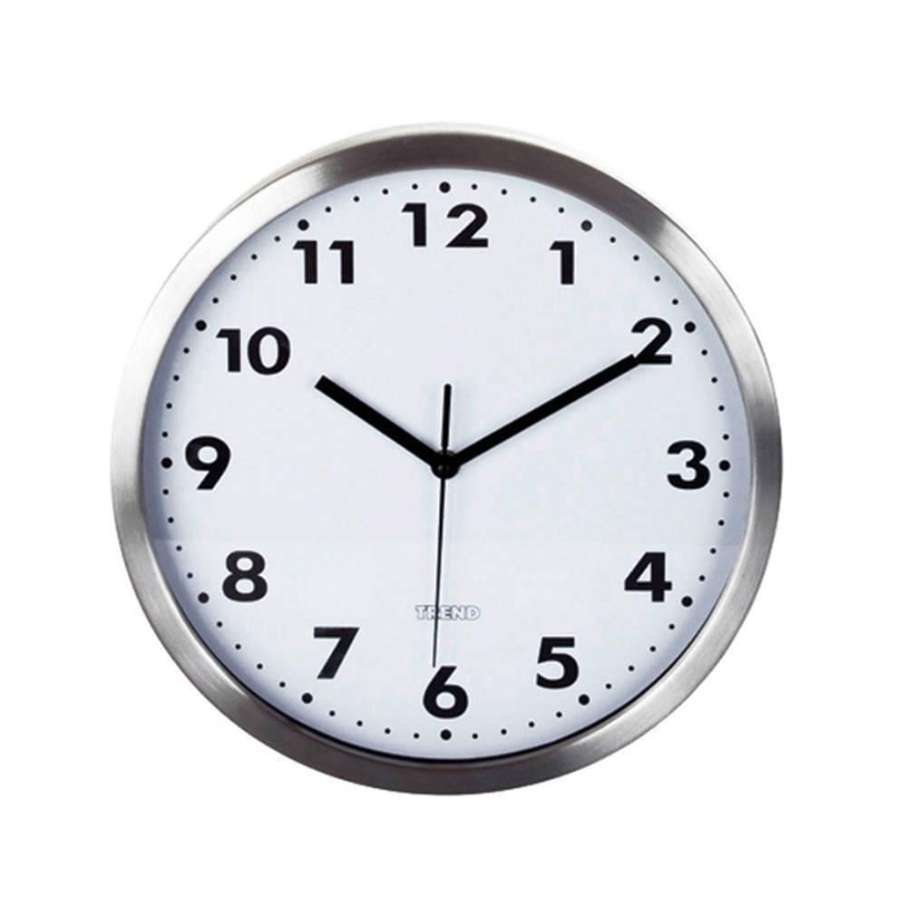 Relógio de Parede Trend Bold Fundo Branco em Aço Escovado - Urban - 30 cm
