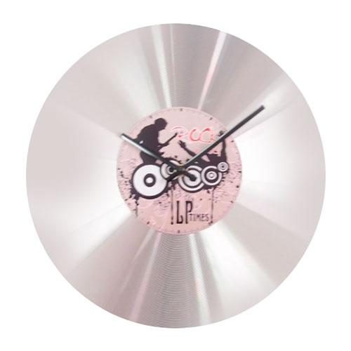 Relógio de Parede Vinil Prata em Alumínio - 36x3 cm