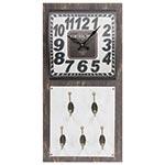 Relógio de Parede Vintage c/ 4 Ganchos - Metal - 60x30 cm