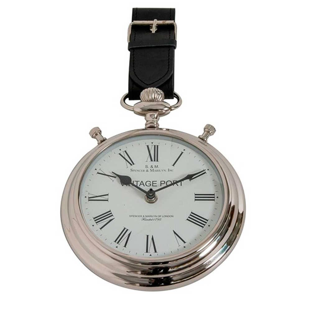 Relógio de Parede Vintage Port em Metal Cromado e Couro Natural - 35x20 cm
