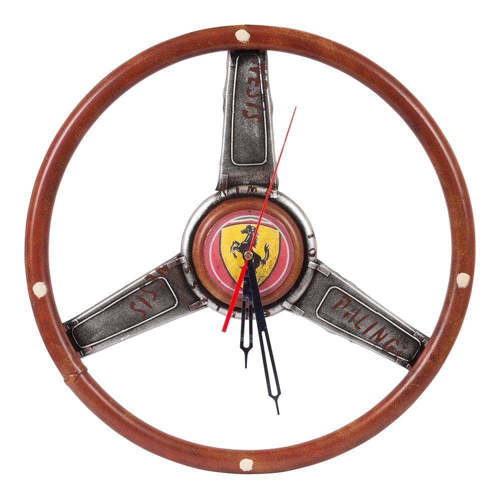 Relógio de Parede Volante Ferrari em Madeira - 39x3 cm