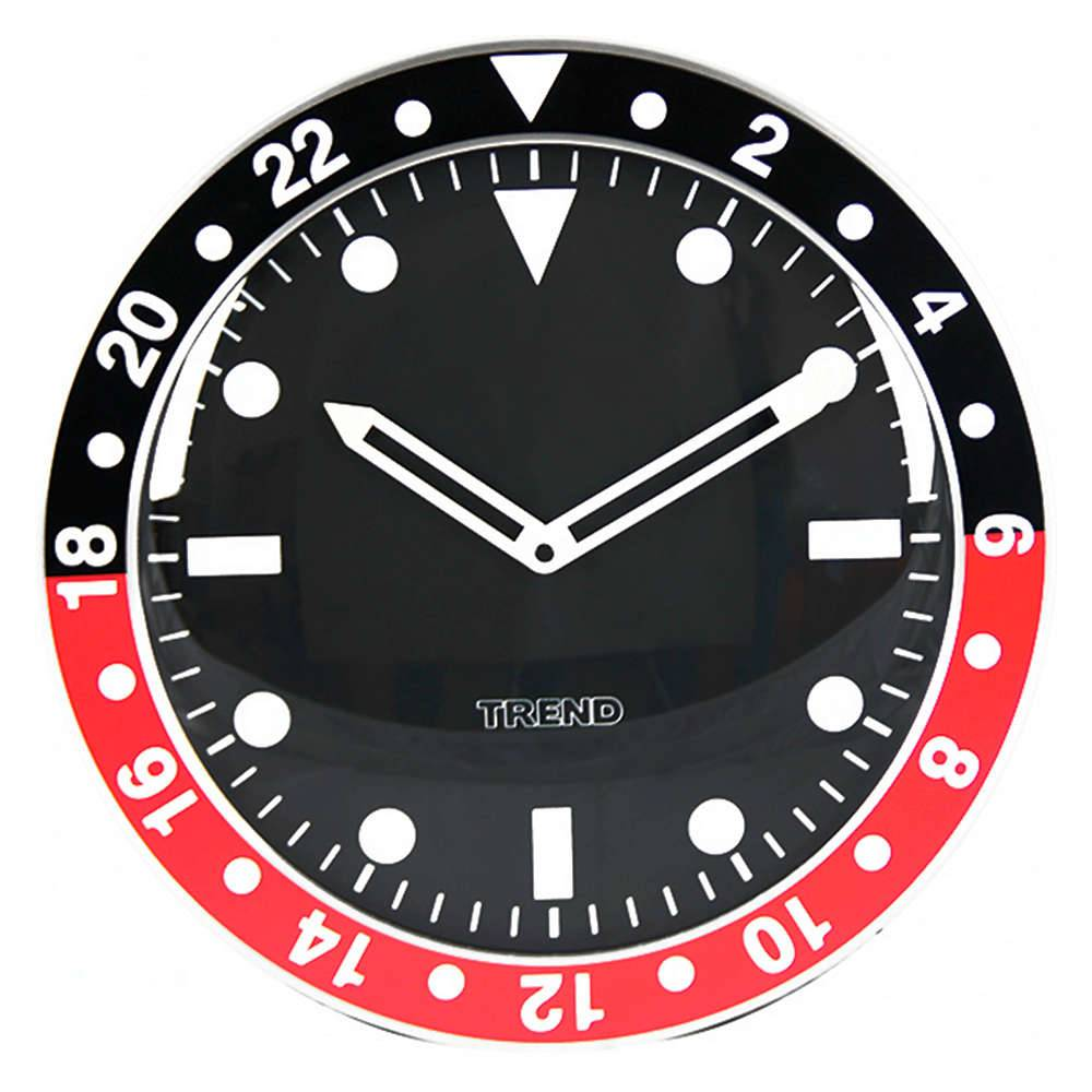 Relógio de Parede Wrist Design Preto e Vermelho em Alumínio - Urban - 35x4,5 cm