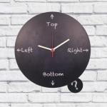 Relógio com Pêndulo Dúvidas Preto em MDF - 30x2 cm