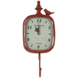 Relógio Pendurador Retrô c/ Pássaro - 1 Gancho - Vermelho