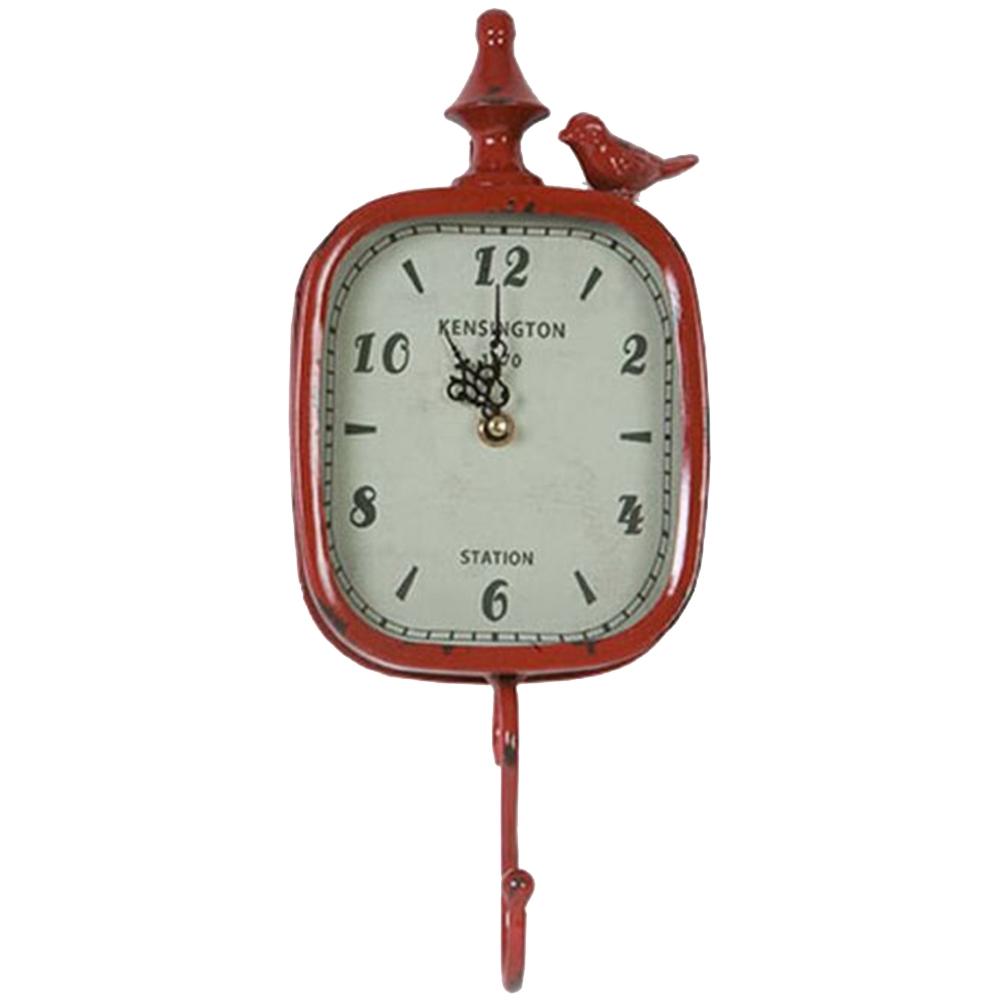 Relógio Pendurador Retrô c/ Pássaro no Topo - 1 Gancho - Vermelho em Metal - 37x15 cm
