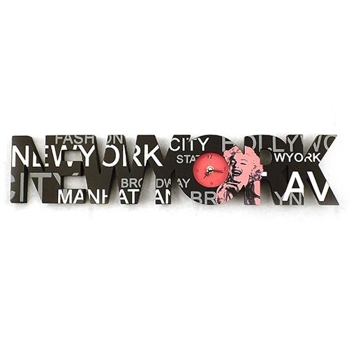 Relógio e Quadro New York / Manhattan - Em Madeira -  60x12 cm