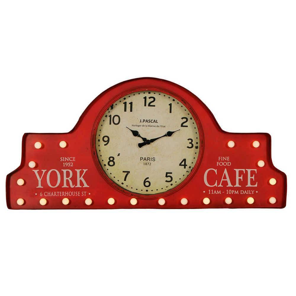 Relógio Retrô Fine Food Café Vermelho com Luzes - em Metal - 85x43 cm