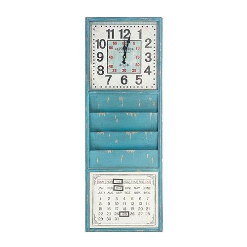 Relógio Revisteiro Calendário Azul Oldway - 100x35 cm