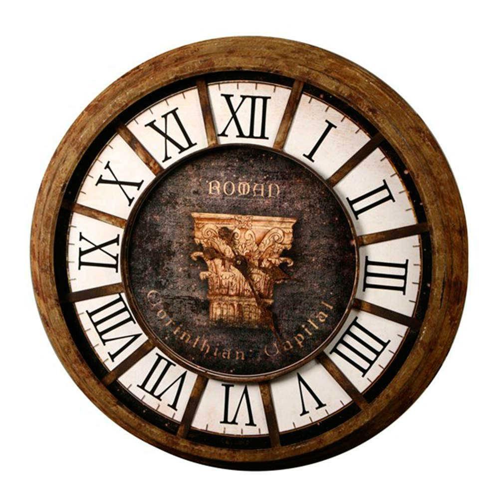 Relógio Romano Corinthian Capital - de Parede - em Madeira - 85 cm