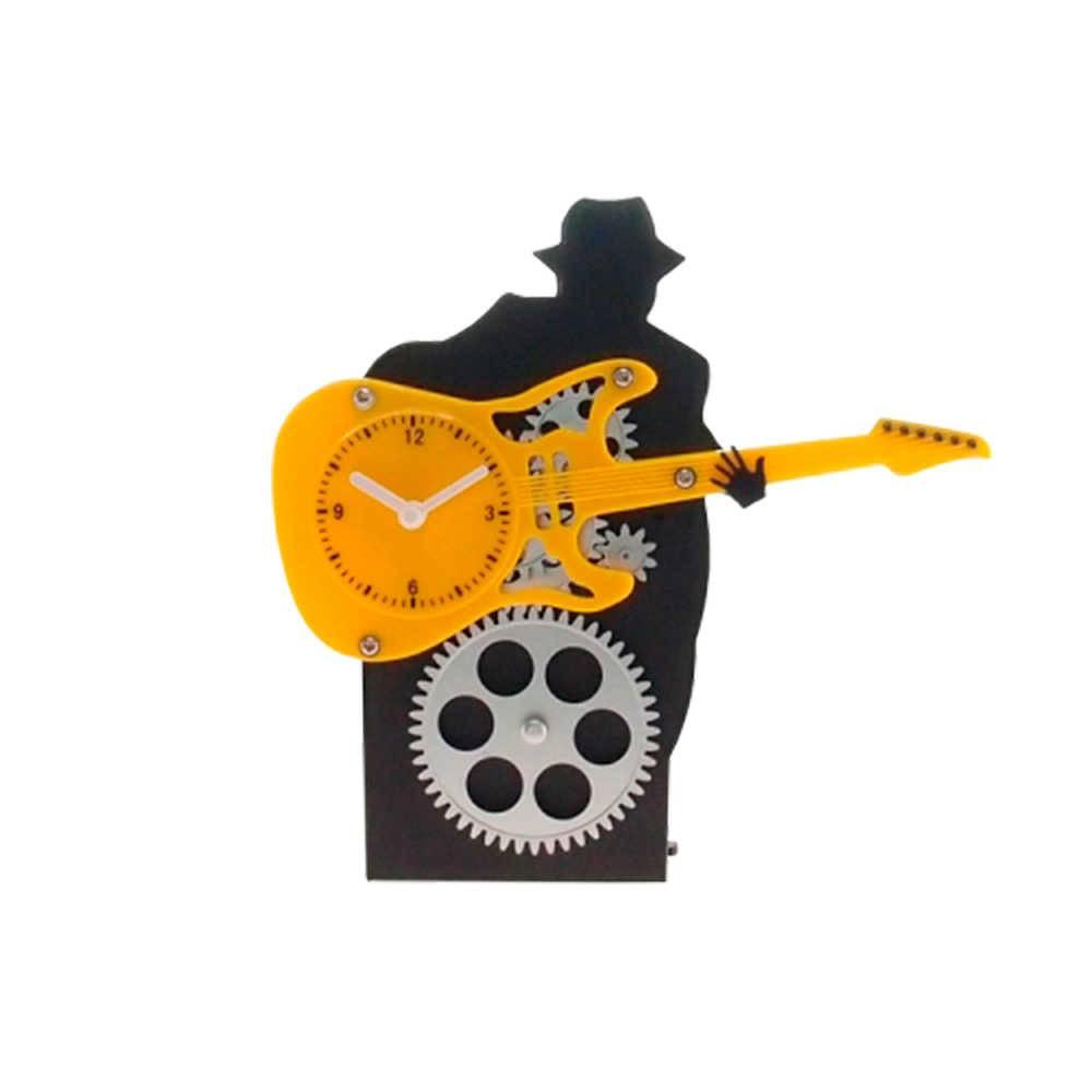Relógio Silhueta de Rockeiro com Engrenagem e Guitarra Amarela - 22x22 cm