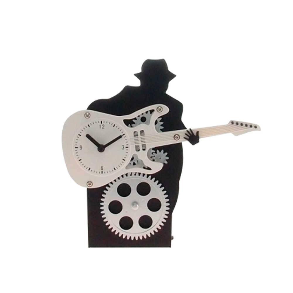 Relógio Silhueta de Rockeiro com Engrenagem e Guitarra Branca - 22x22 cm