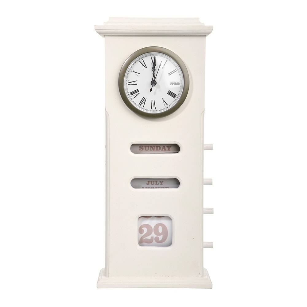 Relógio Solare Branco c/ Marcador de Dia da Semana, Data e Mês - 38x16,5 cm