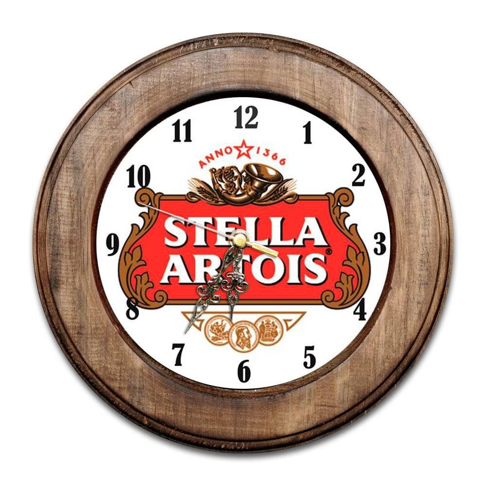 Relógio Stella Artois com Moldura de Madeira - 28x28 cm