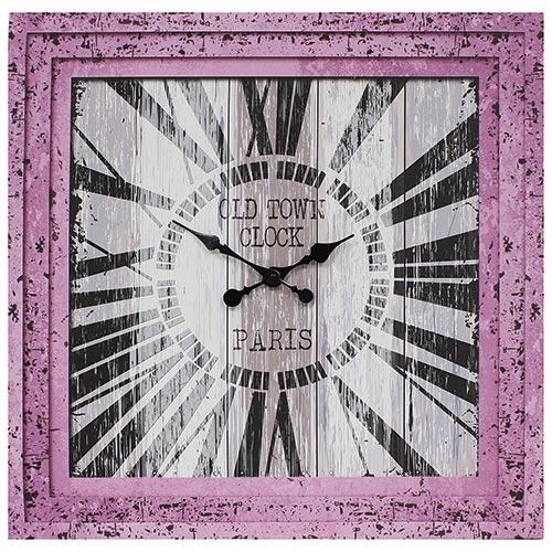 Relógio / Tela Rosa Oldtown Paris Oldway - 70x70 cm
