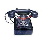 Relógio Telefone Retrô em Polipropileno - 37x30 cm