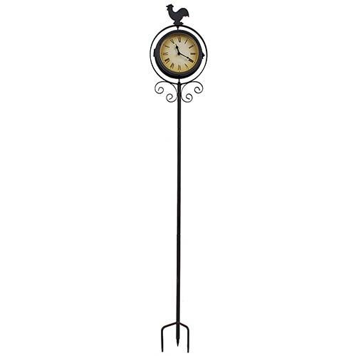 Relógio com Termômetro e Estaca Galo Greenway - 110x20 cm