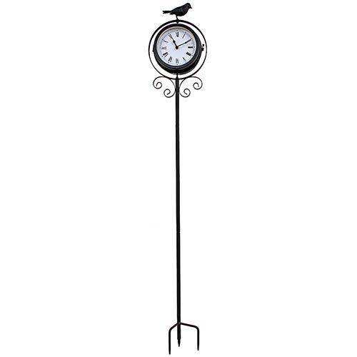 Relógio com Termômetro e Estaca Pássaro Greenway - 110x20 cm