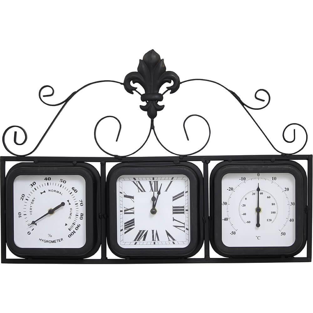 Relógio com Termômetro e Higrômetro Greenway - 25x26x10cm