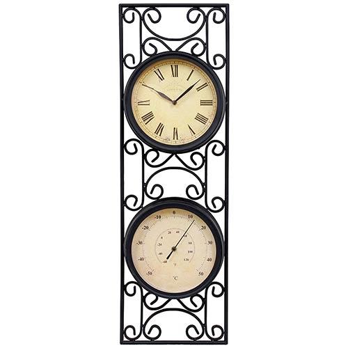 Relógio com Termômetro Moldura Arabesco Greenway - 70x23 cm