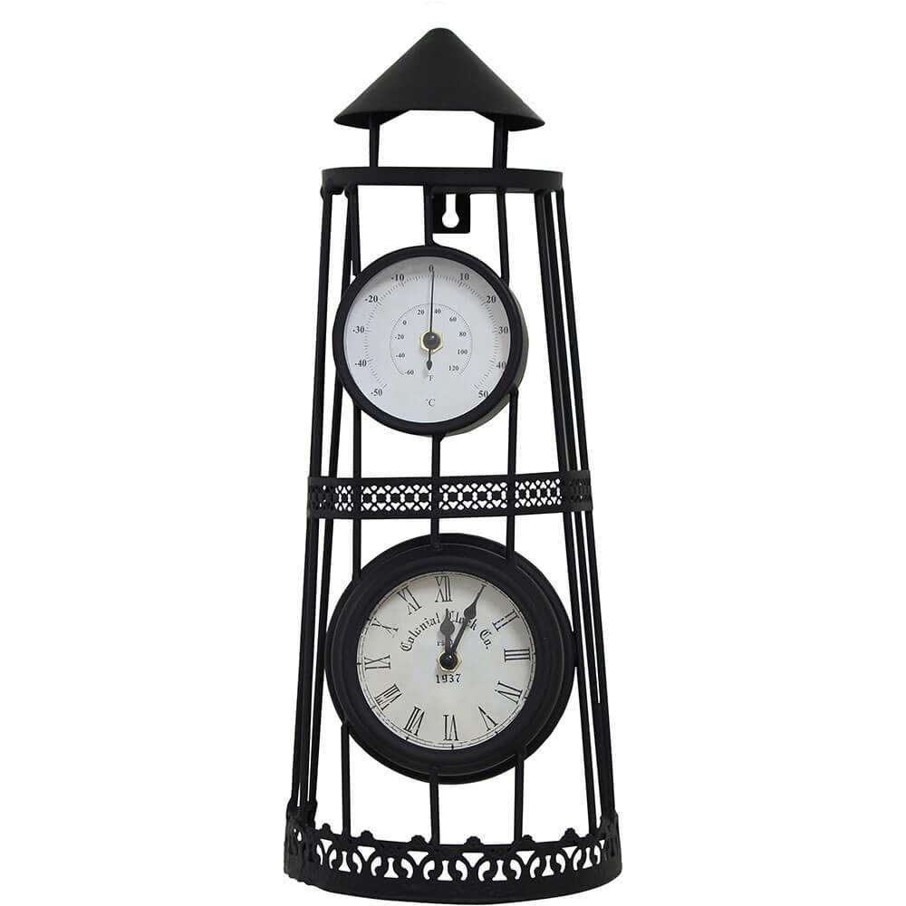 Relógio Torre com Termômetro Greenway - 43x19x12cm