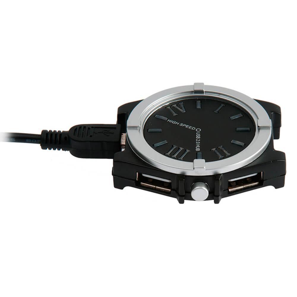 Relógio USB Hub para Computador Preto - Urban - 5 cm