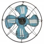 Relógio Ventilador de Parede c/ Números Romanos e Efeito Shabby Chic Vazado Azul em Ferro - 46x46 cm