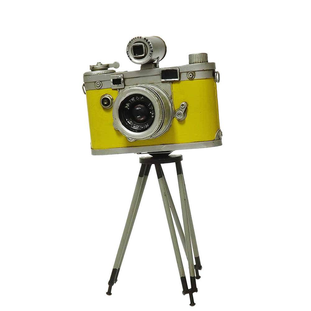 Réplica Câmera Fotográfica Modelo Vintage Yellow Minox com Tripé em Ferro - 29x16 cm