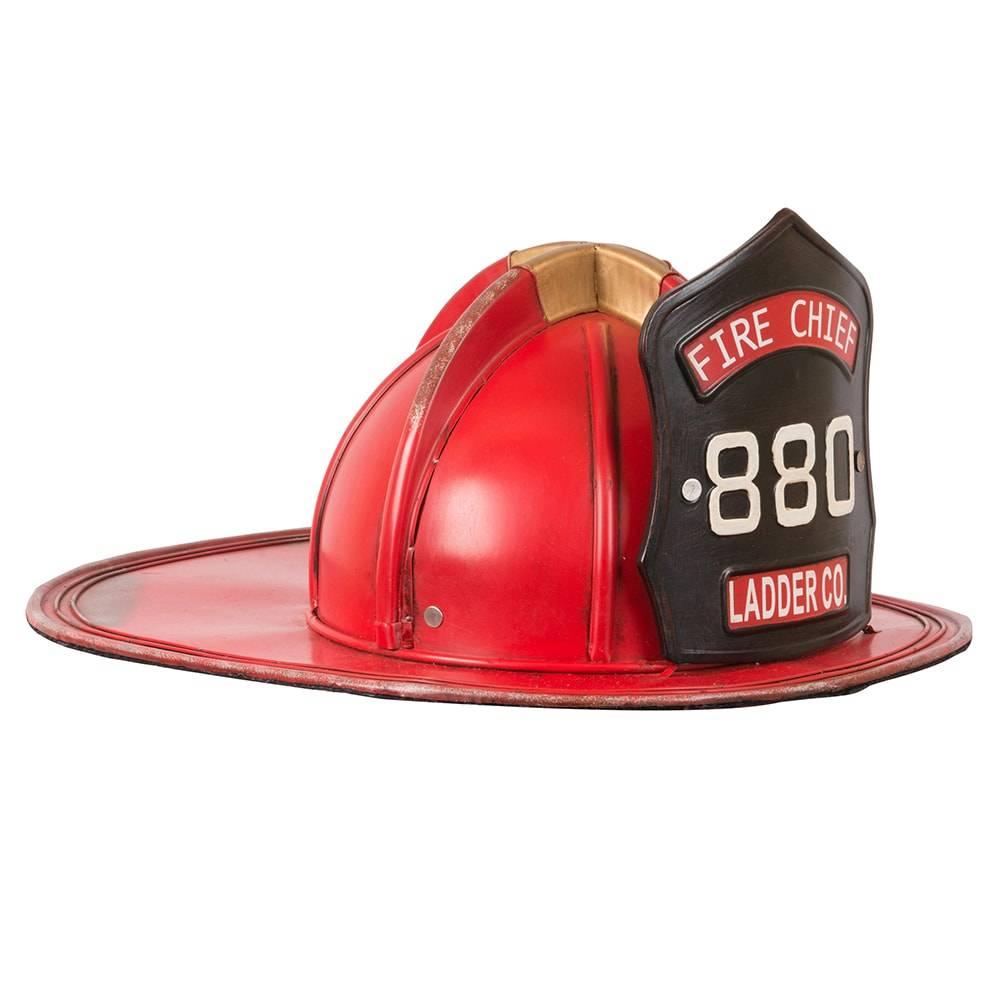 Réplica Capacete de Bombeiro Fire Chief 880 Vermelho em Ferro - 37x31 cm
