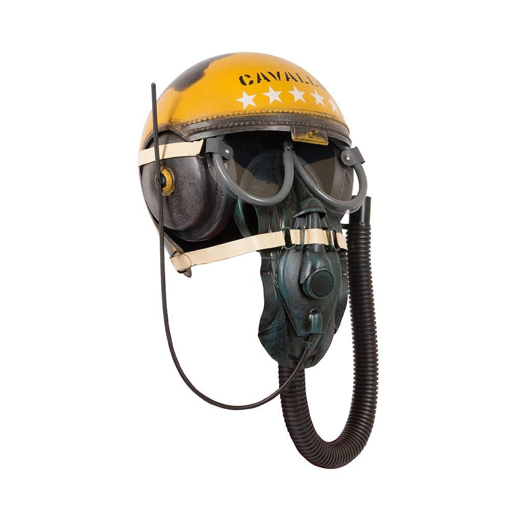 Réplica Capacete de Piloto de Avião em Ferro Modelo Yellow Pilots Helmets - de Parede - 37x22 cm