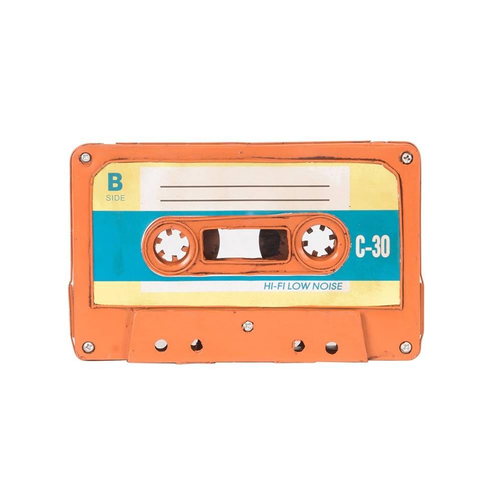 Réplica Fita Cassete Modelo Vintage Orange Tape em Ferro - 21x13 cm