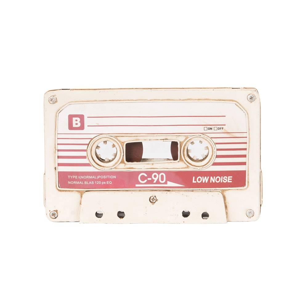 Réplica Fita Cassete Modelo Vintage White Tape em Ferro - 21x13 cm