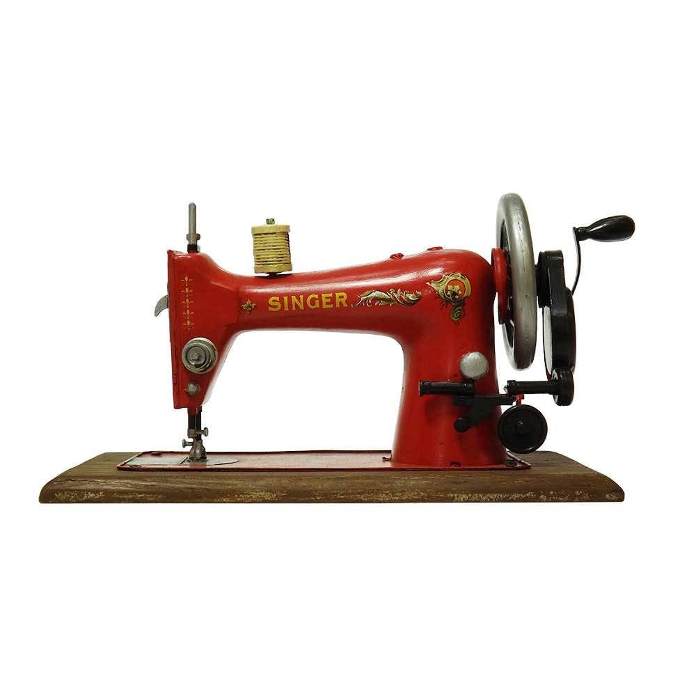 Réplica Máquina de Costura Modelo Vintage Singer Industrial Vermelha em Ferro - 39x19 cm