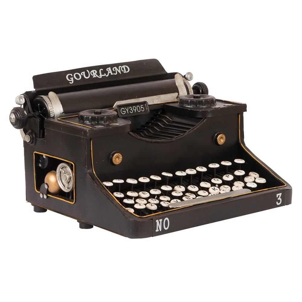 Réplica Máquina de Escrever Modelo Typewriter Gourland Preta em Ferro - 28x21 cm