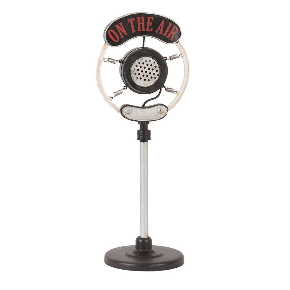 Réplica Microfone On The Air Modelo 1920 Microphone Preto e Prata em Ferro - 38x14 cm
