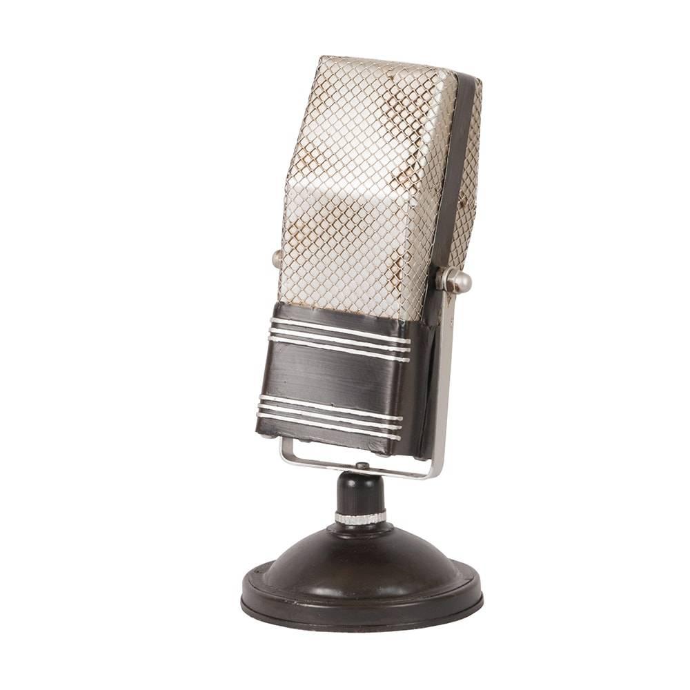 Réplica Microfone Vintage Square Microphone Prateado em Ferro - 23x11 cm