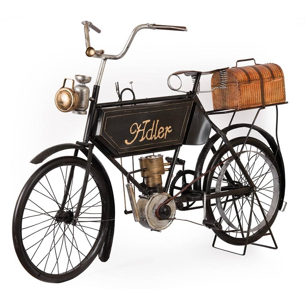 Réplica Motocicleta Adler Motorcycle Modelo 1903 em Ferro - 98x61 cm