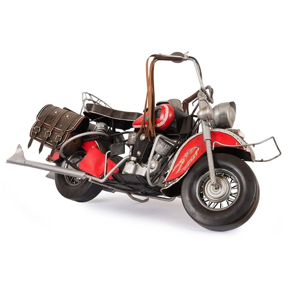 Réplica Motocicleta Indian Chief 1950 Vermelha em Ferro c/ Bolsas de Couro - 87x44 cm