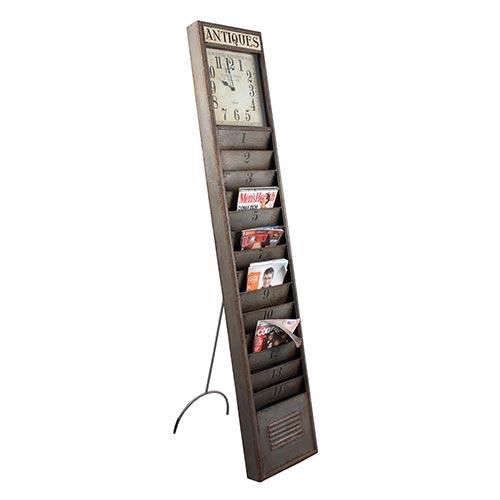 Revisteiro Pedestal com Relógio Antigo Oldway - 190x36 cm