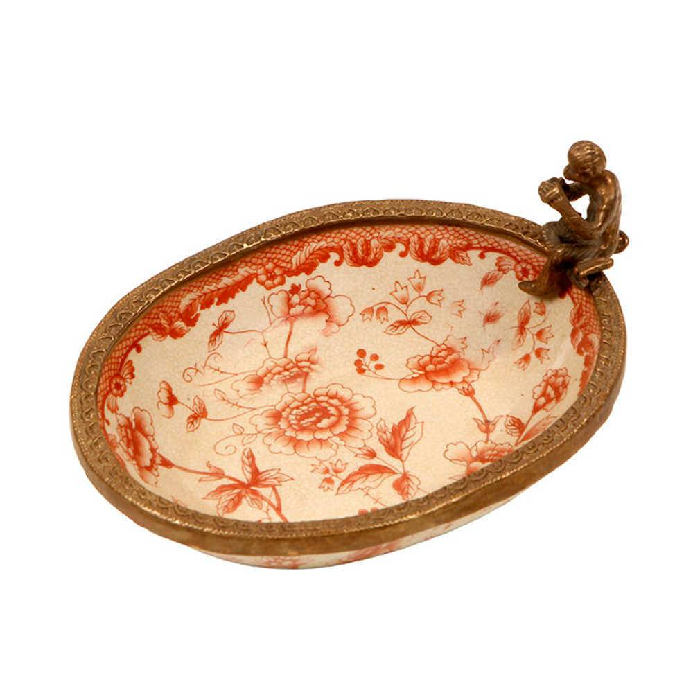 Saboneteira Stefen Floral Craquelado em Porcelana - 18x13 cm