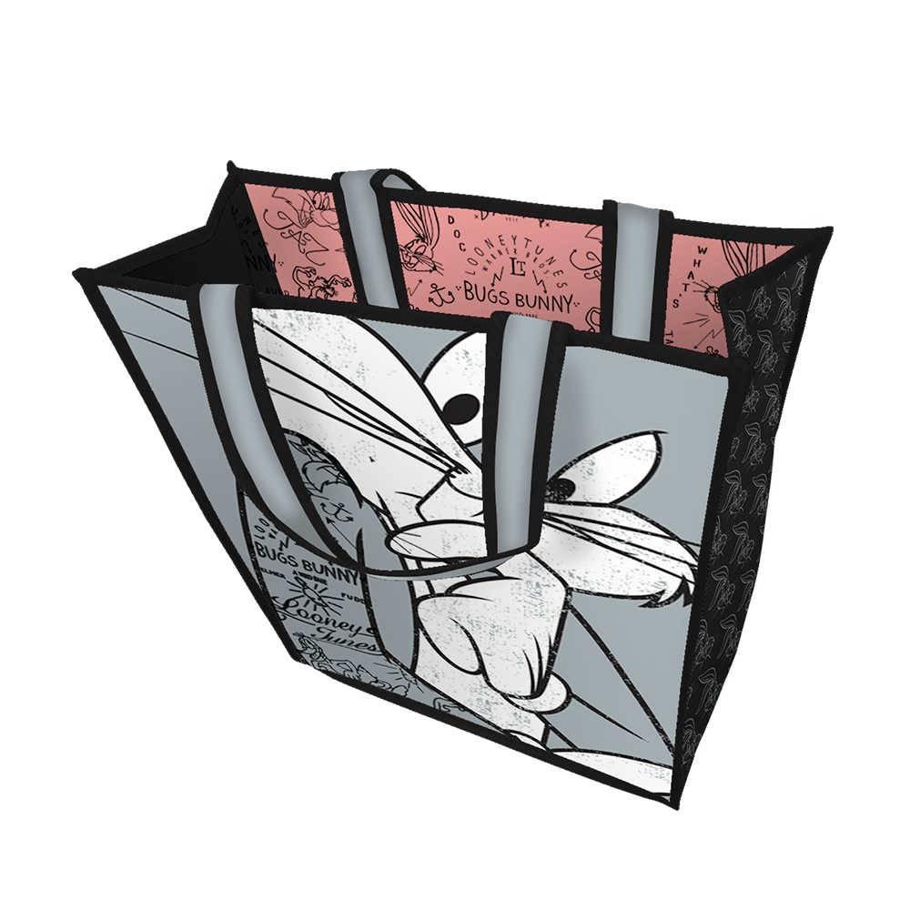 Sacola Looney Tunes Bugs Bunny Concerned Cinza Pequena - Urban - 40x40 cm