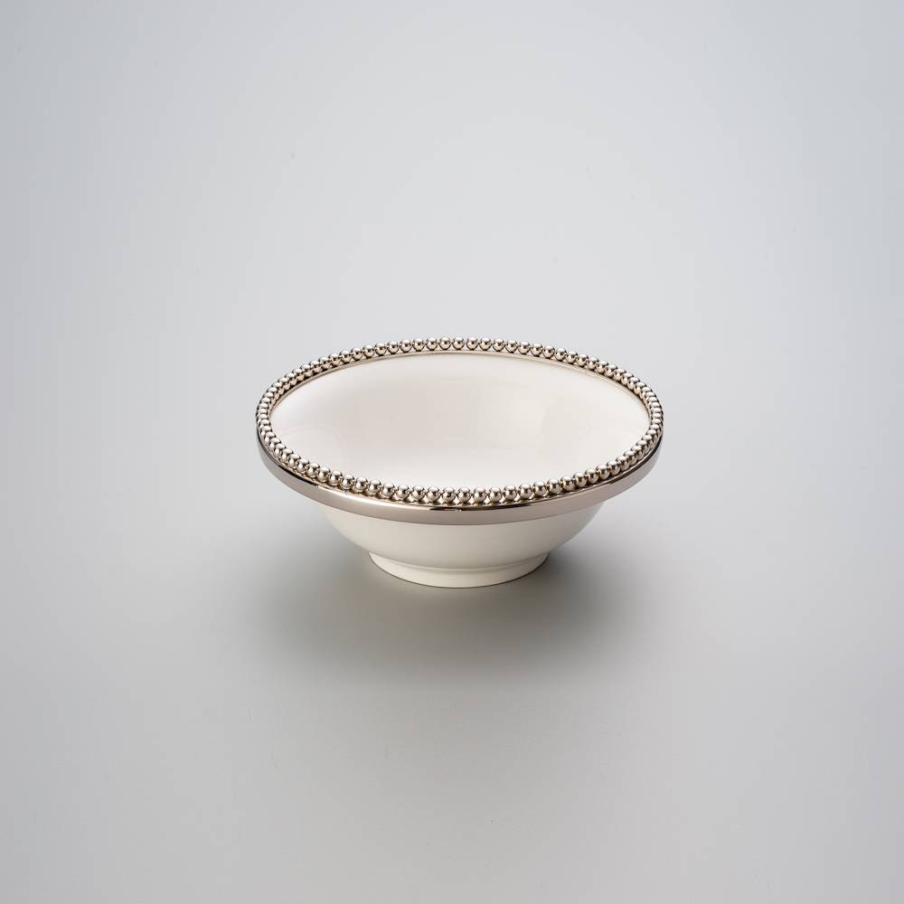 Saladeira Beaded Branca - Wolff - 22,5x9 cm