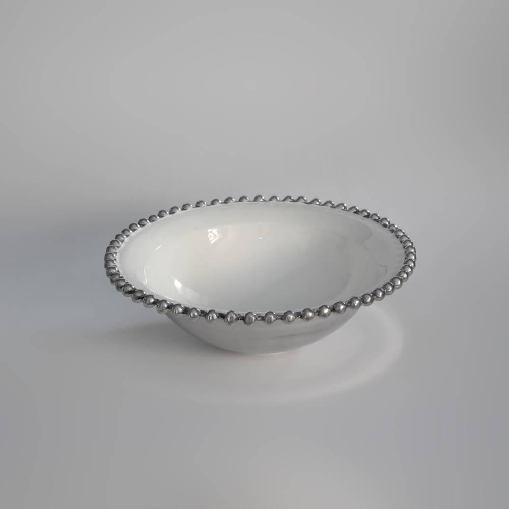 Saladeira Bid Branco/Prata - Prestige - 33x10,5 cm