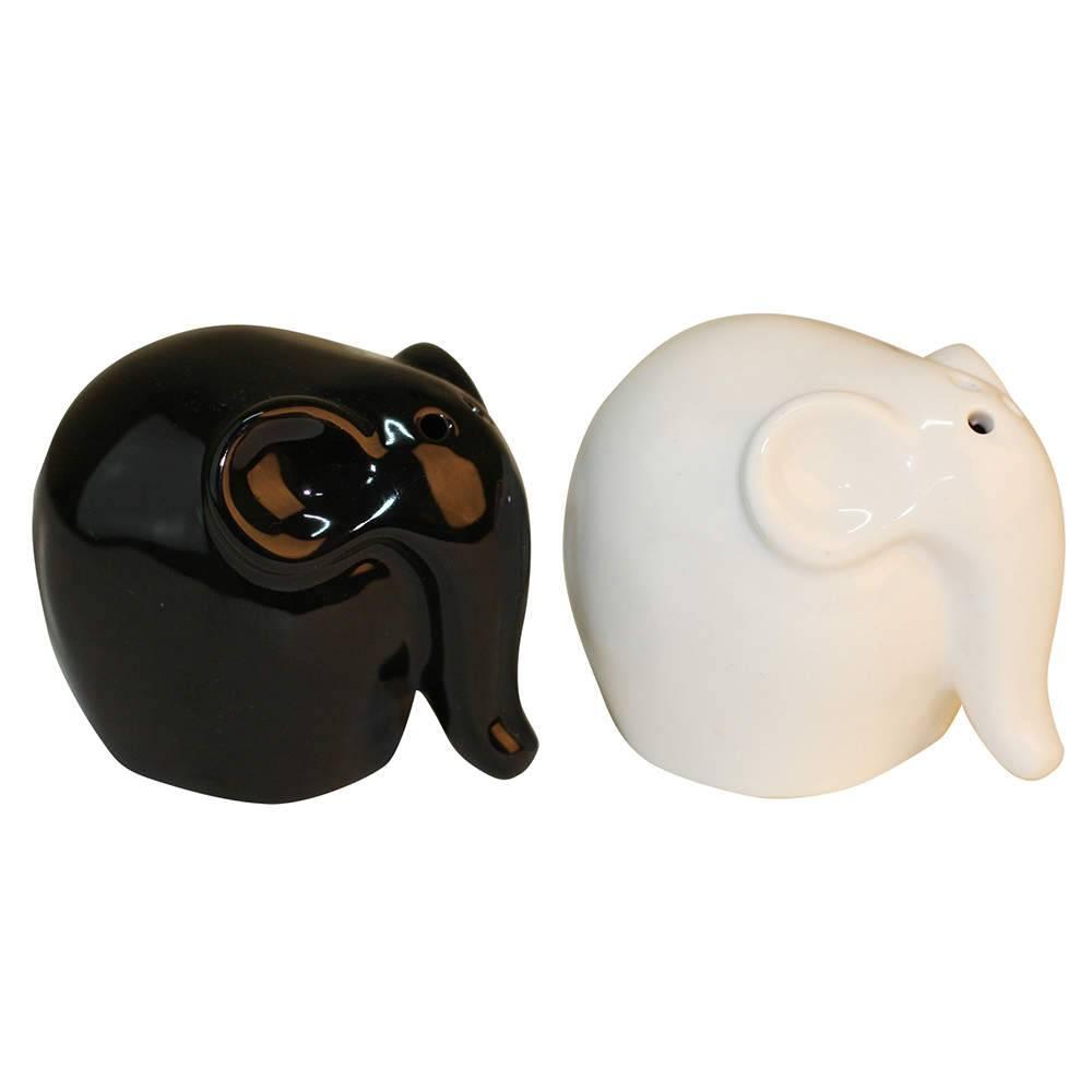 Saleiro e Pimenteiro Elefantes Branco e Preto em Cerâmica - Urban - 9,5x6,3 cm